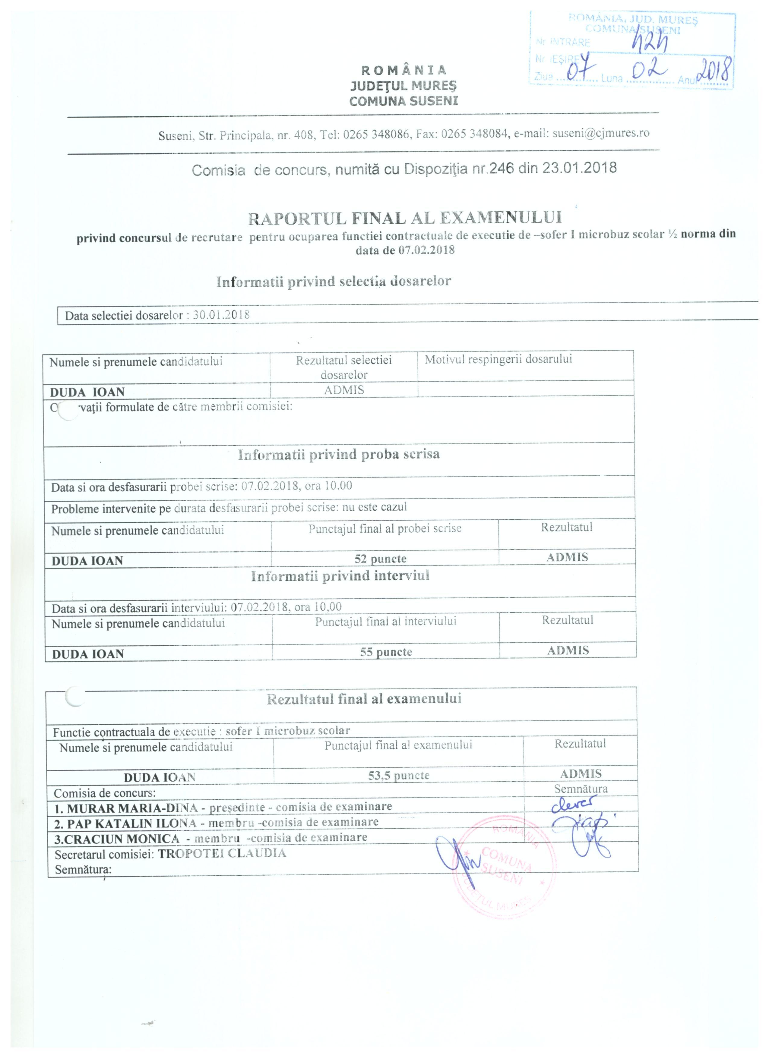 Raportul final al examenului privind concursul de recrutare pentru ocuparea functiei de sofer microbuz scolar